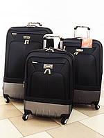 Комплект текстильных пластиковых чемоданов на 4 колеса CCS KS 9789 3 шт