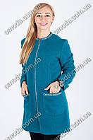 Женский кардиган полу-пальто синего цвета