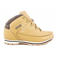 Ботинки мужские кожа Timberland Yellow Winter Edition на меху, Коричневый, 46