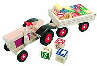 Трактор с алфавитом (англ.) Деревянные развивающие игрушки