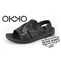 Сандалии мужские кожаные черные OKKO, Турция, Черный, 43