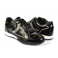 Кроссовки стильные мужские лаковые черного цвета, Черный, 45