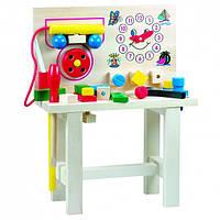 Стол для юного мастера с часами, большой Деревянные развивающие игрушки