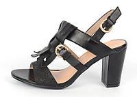 """Босоножки женские черные на широком каблуке """"Bershka"""" с бахромой, Черный, 36"""