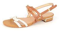 Босоножки женские на каблуке с застежками белые коричневые Irish, Коричневый, 36