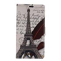 Чехол книжка для LG K5 X220DS боковой с отсеком для визиток, Эйфелева башня и часы