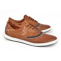 Туфли мужские кожаные коричневые на белой подошве Winston Украина, Коричневый, 40