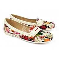 Мокасины женские белые в цветах кожаная стелька Beautiful flowers, Разноцветный, 41