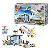 Конструктор аэропорт и самолет SLUBAN M38-B0367, 678 деталей