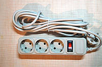 Сетевой фильтр с выключателем для компьютерной и бытовой техники на три розетки 4,5 метра