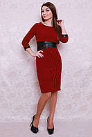 Красивое платье с кожаной вставкой на талии