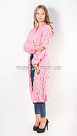 Вязаный длинный кардиган Лало нежно-розовый размер 50