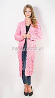 Вязаный длинный кардиган Лало нежно-розовый размер 46