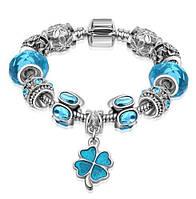 Женский браслет в стиле Pandora голубой с клевером