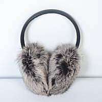 Зимние наушники из кроличьего меха, серые - код 29-408