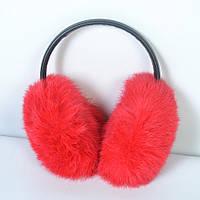 Зимние наушники из кроличьего меха, красные - код 29-444