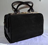 Женская сумка  GERNAS замша и кожзаменитель, черная