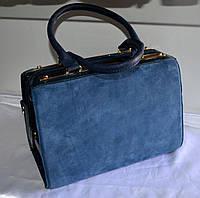Женская сумка  GERNAS синяя замша и кожзаменитель