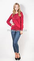 Кофта пуловер женская трикотаж бордо Кристина р.48