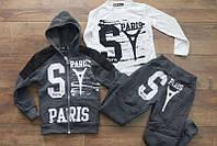 Утепленный спортивный костюм- тройка с начесом 4 лет Цвет:черный, серый