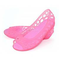Женские летние силиконовые балетки в стиле Crocs (Крокс) розовые, Розовый, 41