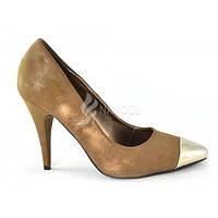 Туфли лодочки женские на шпильке цвет хаки Kamengsi, Золотистый, 40