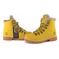 Ботинки женские кожаные на цигейке Timberland 6 inch Yellow Winter, Желтый, 39