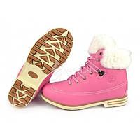 Ботинки женские зимние кожа на меху Timberland Pink, Розовый, 41