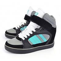Сникерсы мятные, серые, черные на шнуровке с липучкой HKR, Мятный, 41