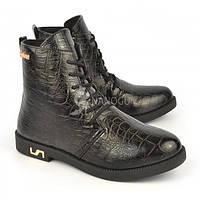 Ботинки женские черные на шнуровке и молнии Ricci Украина, Черный, 41