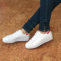Кроссовки женские Superstar белые с красным, женская обувь