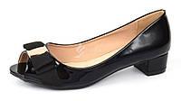 Туфли женские лакированные черные на широком каблуке Anna кожаная стелька, Черный, 38