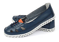 Балетки женские кожаные Spur синие дышащие на рифленой подошве, Синий, 37