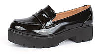 Туфли лоуферы женские черные лакированные на каблуке Betsy, Черный, 36