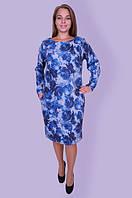 Теплое платье с принтом синего цвета