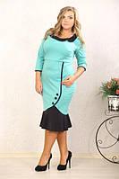 Платье миди с воротничком и воланом по низу юбки