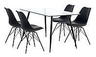 Комплект кухонный  (обеденная группа из стола стеклянный + 4 стула черные)