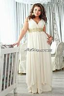 Длинное шифоновое платье в пол с украшением, без рукавов