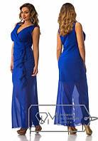 Длинное шифоновое платье на запах, без рукавов, с вертикальной оборкой