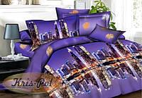"""Комплект постельного белья семейный,  ранфорс  3D """"Салют над ночным городом"""""""