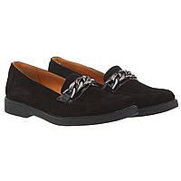 Туфли женские Zlett (черные, замшевые, удобные, с цепочкой в роли декора)