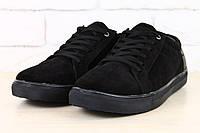 Ботинки мужские зимние черные замшевые с кожаной пяткой, низкие на меху