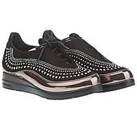 Черные туфли с стразами Summergirl (стильные, на шнурках, удобные, оригинальный дизайн)
