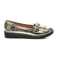 Женские золотистые туфли с кисточками без каблука