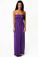 Стильное платье бандо сиреневого цвета №357