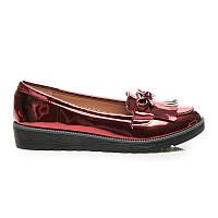 Женские лаковые туфли с кисточками без каблука малиновые