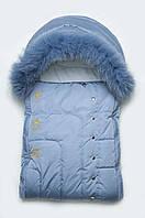 Зимний конверт «Мишки-топтыжки» для новорожденного с натуральной опушкой. Голубой