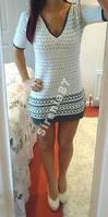Стильное теплое платье с капюшоном №41