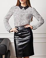 """Женская блузка """"Марлен Вайт"""" с воротничком и манжетами"""
