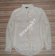 Стильная кремовая блузка в пайетках №42